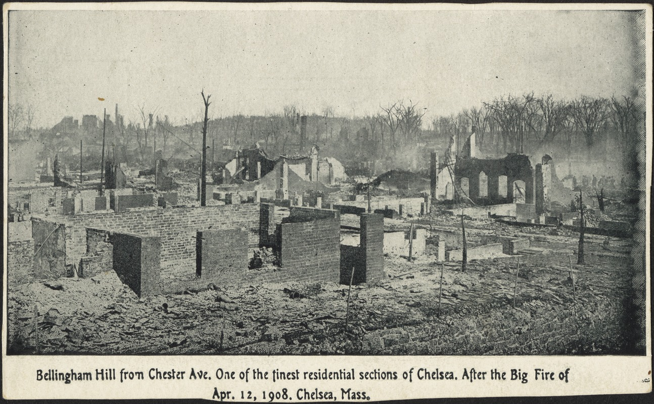 Bellingham Hill from Chester Ave. One of the finest residential sections of Chelsea. After the big fire of Apr. 12, 1908. Chelsea, Mass.