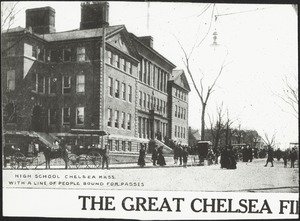 High school Chelsea Mass. with a line of people bound for passes