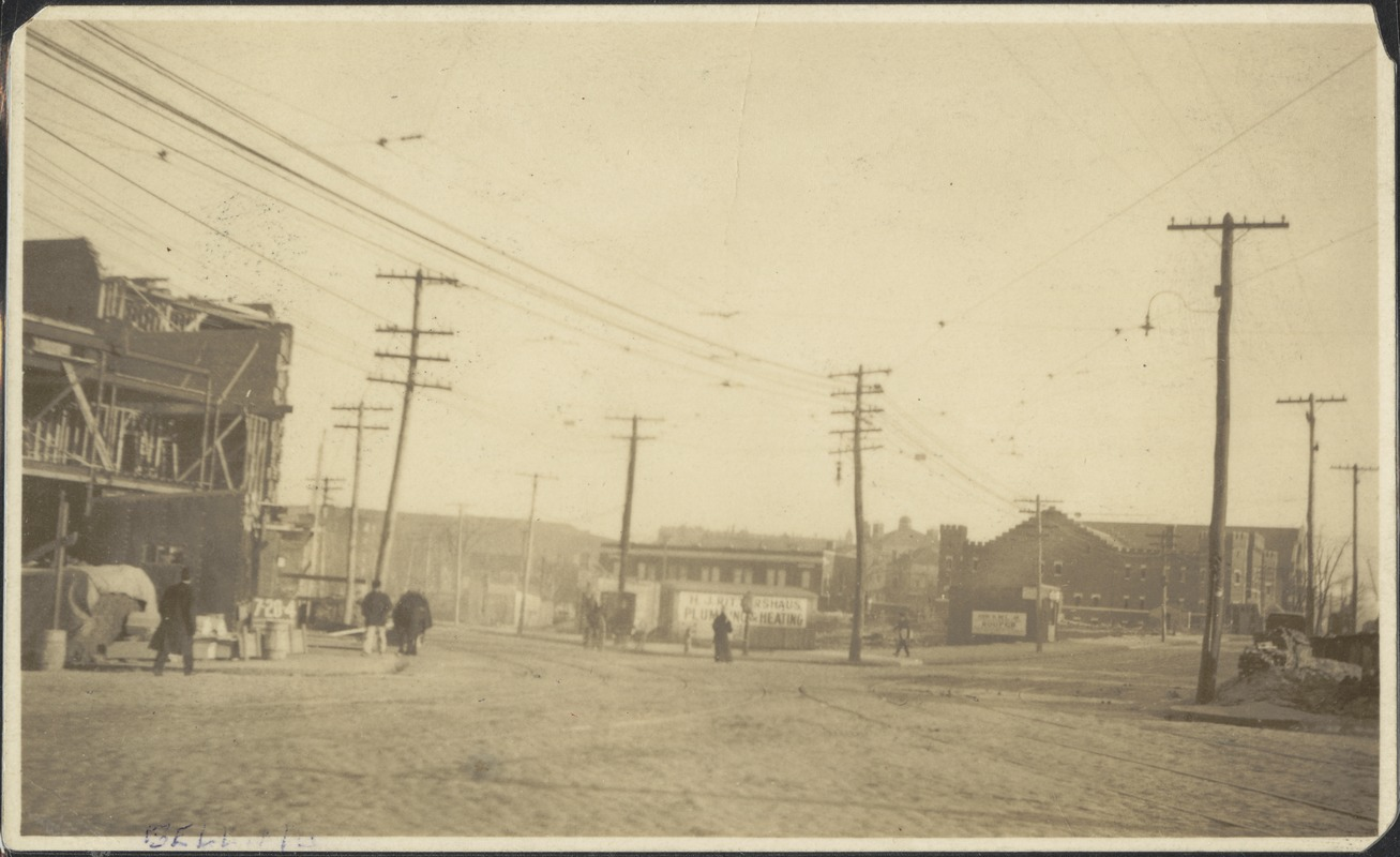 Bellingham Sq. Wash. Ave on left, Brway on right, St. Rose in distance