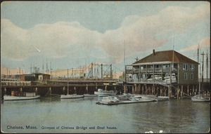 Chelsea, Mass. Glimpse of Chelsea Bridge and boat house