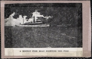 A Boston fire boat fighting the fire