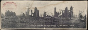 Ruins of City Hall, Unitarian Church, and First Baptist Church. Chelsea