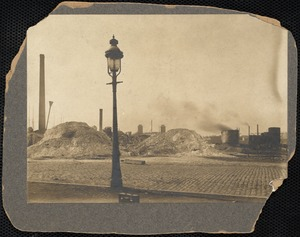 Street light and ruins of the Great Chelsea Fire