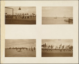 Plymouth Tercentenary Pagaent, 4 scenes including Viking ship and Mayflower in Plymouth harbor; End of an Indian Dance, episode I, section 4; and 2 scenes from grand finale