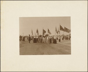 Plymouth Tercentenary Pageant, a group of Pilgrim women conveying state flags in the finale of the pageant