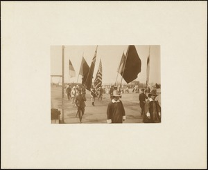 Plymouth Tercentenary Pageant, close-up of cast marching and holding flags