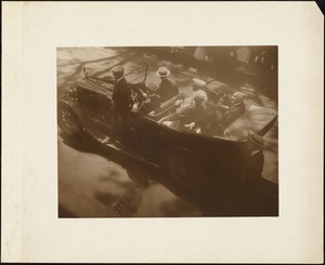 Plymouth Tercentenary celebration, parade, President Day, August 1, 1921, car carrying President Warren G. Harding