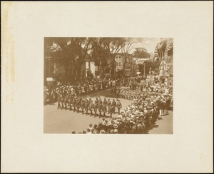 Plymouth Tercentenary celebration, parade, President Day, August 1, 1921, marchers in uniform with flags