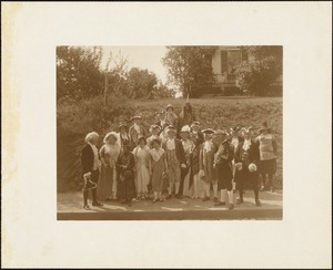 Plymouth Tercentenary celebration, parade, President Day, August 1, 1921; members of the Nemasket Choir from Middleboro (Indian woman on left described as descendant of Massasoit)