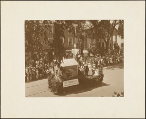 Plymouth Tercentenary celebration, parade, President Day, August 1, 1921, float by Independent Rebekah Lodge 163, Brockton, representing first Thanksgiving