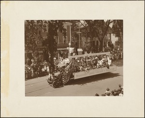 Plymouth Tercentenary celebration, parade, President Day, August 1, 1921, float by Massasoit Lodge, International Order of Odd Fellows, No. 69, Brockton, MA, representing the treaty with Massasoit