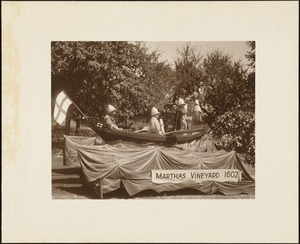 Plymouth Tercentenary celebration, parade, President Day, August 1, 1921, float by the island of Martha's Vineyard