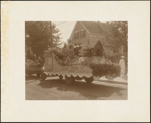 Plymouth Tercentenary celebration, parade, President Day, August 1, 1921, float by Sandwich, MA, representing First Church
