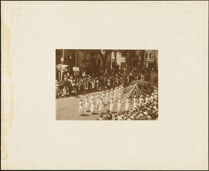 Plymouth Tercentenary celebration, parade, President Day, August 1, 1921, women marching with streamers in front of unidentified float