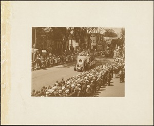 Plymouth Tercentenary celebration, parade, President Day, August 1, 1921, historical float by the town of Whitman
