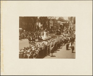 Plymouth  Tercentenary celebration, parade, President Day, August 1, 1921, float by Rockland, MA, representing manufacture of the first ready to wear shoes in Plymouth County by Thos. Hunt--1723
