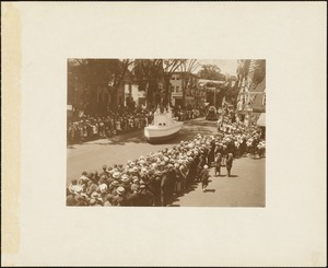 Plymouth Tercentenary celebration, parade, President Day, August 1, 1921, float by Hanover, MA, representing first iron plough