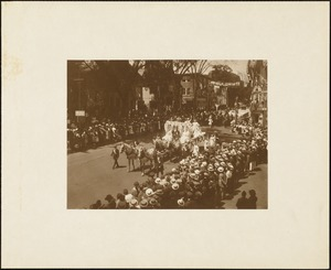 Plymouth Tercentenary celebration, parade, President Day, August 1, 1921, float by the Ancient Order United Workmen, Plymouth