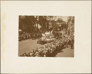 Plymouth Tercentenary celebration, parade, President Day, August 1, 1921, float by SAO Gabriel Portuguese National Society, Plymouth