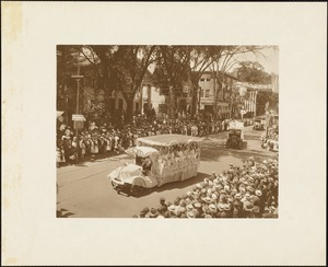 Plymouth  Tercentenary celebration, parade, President Day, August 1, 1921, float by Lady Winthrope Rebekah Lodge, Brockton, MA