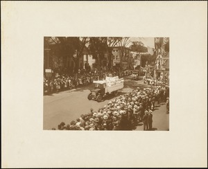 Plymouth  Tercentenary celebration, parade, President Day, August 1, 1921, float by Betty Alden Rebeckah Lodge, Abington, MA