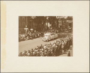 Plymouth  Tercentenary celebration, parade, President Day, August 1, 1921, float by Jones River Parish, Kingston, MA