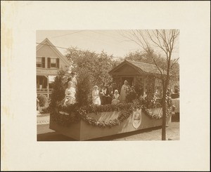 Plymouth  Tercentenary celebration, parade, President Day, August 1, 1921, first prize - historical float representing descendants of Gov. Winslow--Marshfield, MA