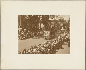 Plymouth  Tercentenary celebration, parade, President Day, August 1, 1921, float depicting Major's Purchase, West Bridgewater
