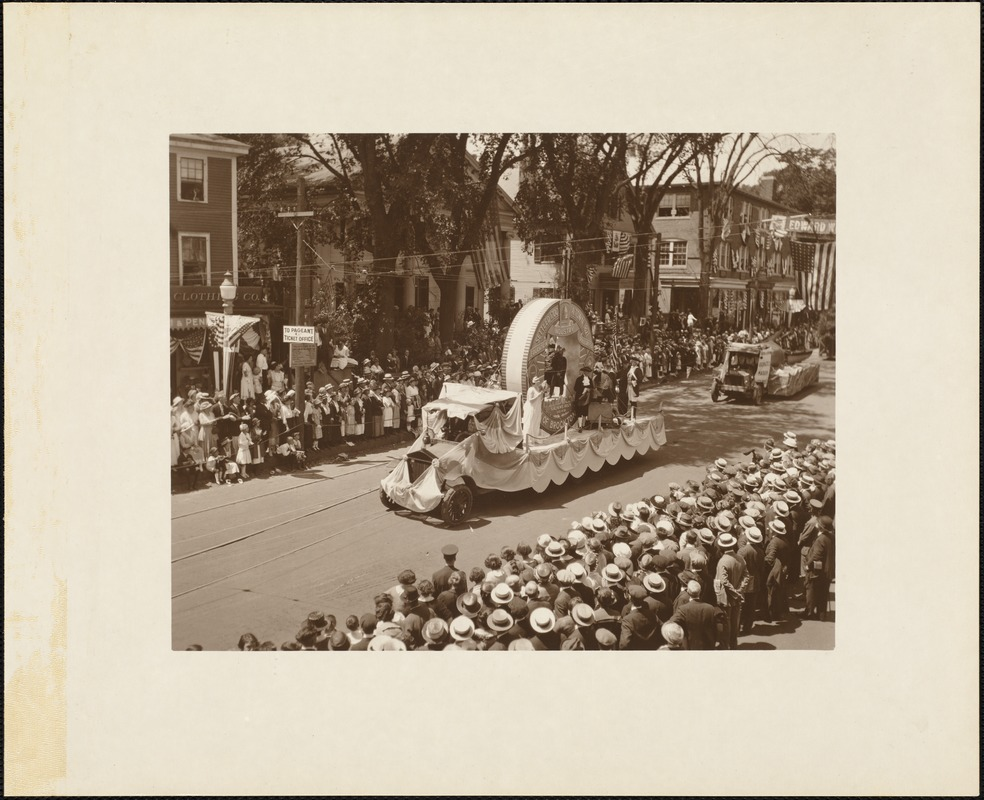 Plymouth  Tercentenary celebration, parade, President Day, August 1, 1921, float by Brockton, MA, representing Sachem's Rock, 1649