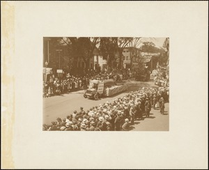 Plymouth  Tercentenary celebration, parade, President Day, August 1, 1921, float by Rochester, Marion and Mattapoisett representing whale spearing