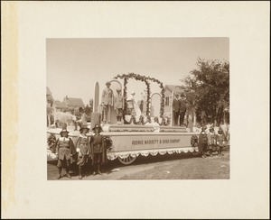 Plymouth  Tercentenary celebration, parade, President Day, August 1, 1921, first prize - second prize commercial float, George Mabbett & Sons Company, Plymouth (posed), view from rear