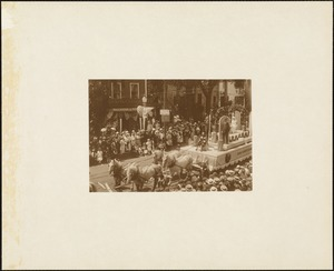 Plymouth  Tercentenary celebration, parade, President Day, August 1, 1921, first prize - second prize commercial float, George Mabbett & Sons Company, Plymouth