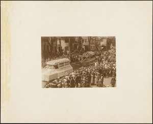 Plymouth  Tercentenary celebration, parade, President Day, August 1, 1921, 2 commercial floats, Suffolk Brand Canned Goods followed by unidentified float