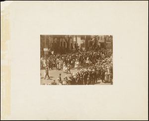 Plymouth  Tercentenary celebration, parade, President Day, August 1, 1921, marchers in street at end of parade