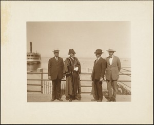 Plymouth Tercentenary celebration, August 4, 1921, Deputy Mayor Isaac Foot of Plymouth, England (in regalia) with Selectman William T. Eldridge, George W. Bradford, and Josiah A. Robbins in front of Plymouth Rock (prior to completion of portico)