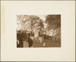 Plymouth Tercentenary celebration, October 4, 1921, dedication ceremony of antique cannon presented as a gift of the British government, memorial mounted on Burial Hill