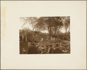 Plymouth Tercentenary celebration, October 4, 1921, dedication ceremony of antique cannon presented as a gift of the British government, memorial mounted on Burial Hill, view from below