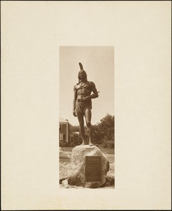 Plymouth Tercentenary celebration, September 1921, statue of Massasoit, Cole's Hill, Plymouth