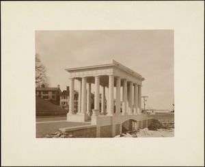 Plymouth Tercentenary celebration, winter 1921/22, new portico over Plymouth Rock presented by Colonial Dames of America, view looking north
