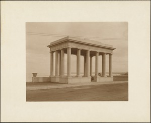 Plymouth Tercentenary celebration, winter 1921/22, new portico over Plymouth Rock presented by Colonial Dames of America, view looking east