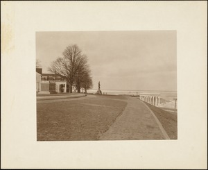Vista from top of Cole's Hill showing Mayflower passengers' memorial, statue of Massasoit, and Plymouth Rock portico, winter 1921/1922
