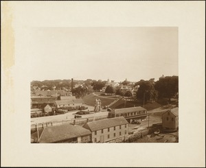 Plymouth waterfront, summer of 1920, looking towards Cole's Hill, showing the monument designed by Hammatt Billings (1859) for Plymouth Rock