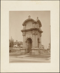 Plymouth waterfront, summer of 1920, monument designed by Hammatt Billings (1859) for Plymouth Rock