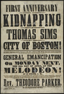 First anniversary of the kidnapping of Thomas Sims by the City of Boston