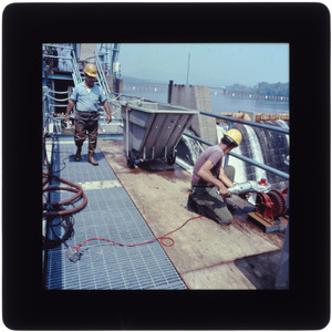 Workers at fishway