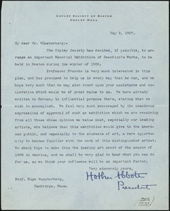 Abbot, Holker, 1858-1930 typed letter signed to Hugo Münsterberg, Boston, 09 May