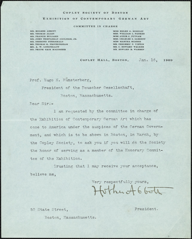 Abbot, Holker, 1858-1930 typed note signed to Hugo Münsterberg, Boston, 16 January 1909