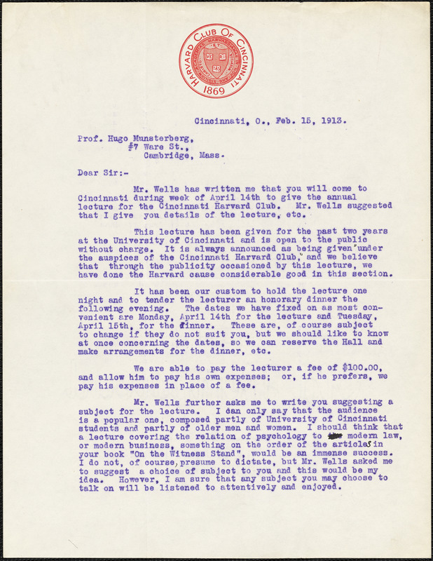 Ach, Laurence R. 2 typed letters signed to Hugo Münsterberg, Cincinnati, Ohio, 15 February & 03 March 1913