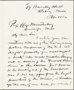 Adams, Charles Follen, 1842-1918 autograph letter signed to Hugo Münsterberg, Roxbury, Mass., 28 April 1916