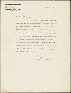 Adler, Felix, 1851-1933 typed letter signed to Hugo Münsterberg, New York, 24 April 1907